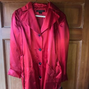 Anne Klein Red Silk Trench Style Coat